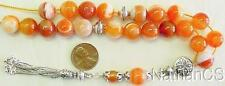 Greek Komboloi Worry Beads Orange Banded Agate and Sterling Silver