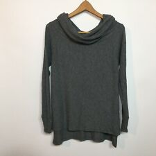 Elan Size Small S Gray Ribbed Knit Wide Cowl Neck Sweater Top On / Off Shoulder