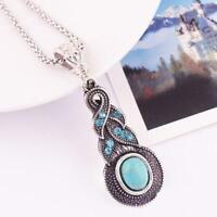 Tibetische Silber BlauTürkis Kette Kristall Anhänger Halskette Modeschmuck F5A3