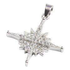 Silver 925 star of Bethlehem blessed cross white zircons pendant from Jerusalem