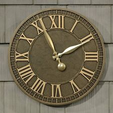 """Wall Clocks Large 16"""" Outdoor Indoor Old Aged Style Rust Free Aluminum New Clock"""