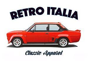 FIAT 131 ABARTH STRADALE t-shirt. RETRO ITALIA. CLASSIC CAR. RALLY CHAMPION.