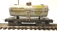 LIONEL RARE GRAY 654 TANK CAR IN GOOD CONDITION IN ORIGINAL BOX