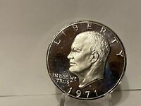 1971 -S Eisenhower Dollar Proof 40% Silver CameoProof Ike Coin
