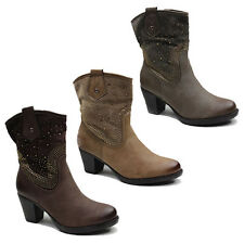 WOMENS LADIES COWBOY STYLE CUBAN HEEL MID CALF BOOTS BOOTIES SHOES SIZE 3-8