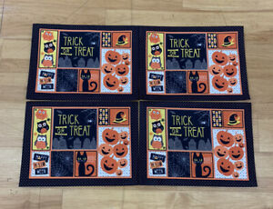 """Halloween Placemats SET OF 8 Witch Black Cat Owls 18""""x 13"""" New Sealed 1180"""