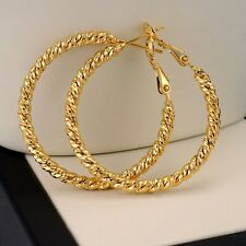 New Women Earrings Ring Hoop 18k Yellow Gold Filled 35mm GF Fashion Jewelry Hot