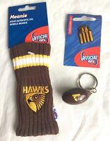 HAWTHORN HAWKS AFL FOOTY PHONE BEANIE +  FOOTBALL KEY RING + GUERNSEY PIN BADGE
