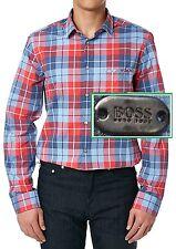 NWT Hugo Boss Green Label By Hugo Boss Modern Fit Plaid Long-Sleeve Shirt
