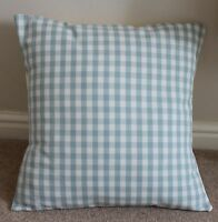 LAURA ASHLEY CUSHION COVER GINGHAM LINEN DUCK EGG CHECK 18 X 18""