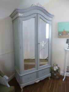 Charroux Double Armoire Wardrobe In Mercury Grey  - Shabby Chic French Style