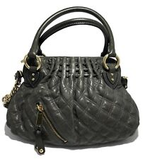 NEW, MARC JACOBS DARK GRAY QUILTED LEATHER HANDBAG WITH STRAP, $1595