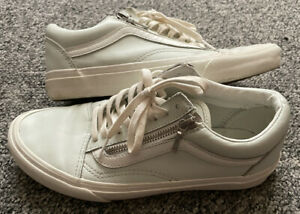 WOMENS VANS OLD SKOOL OFF THE WALL LIGHT BLUE LEATHER TRAINERS UK 6 EUR 39