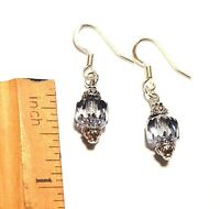 Montana Blue AB Crystal Dangle Earrings Bali Silver Accents on Flat French Hooks
