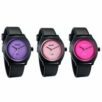 Men Women PU Leather Strap Solid Color Dial Frosted Analog Quartz Wrist Watch