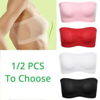 2Pcs Women Ladies Strapless Seamless Padded Boob Bandeau Tube Tops Bra Free Size
