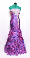 KISS KISS FORMAL GEMS SEQUIN IRIDESCENT PURPLE ORGANZA RUFFLED PROM GOWN DRESS 6