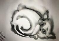 ORIGINAL Malerei PAINTING zeichnung art drawing black schwarz katze cat schwarz