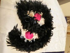 """Vintage Millinery Flower Feather Trim Collection 6' Black Boa 4"""" Pink H1433"""