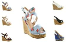 Wedge Peep Toes Unbranded Textile Heels for Women