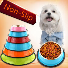 Cat Dog Pet Bowl Stainless Steel Non Slip Pet Puppy Food Water Feeding Dish 1pc