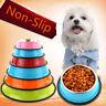 Cat Dog Pet Bowl Stainless Steel Non Slip Pet Puppy Food Water Feeding Dish 1pc