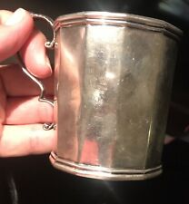 ANTIQUE JONES BALL & POOR BOSTON 12 SIDED COIN SILVER CUP MUG MONOGRAMMED 1950