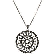 ZEEme Jewelry Anhänger mit Kette 925/- Sterling Silber Markasit schwarz 60 cm