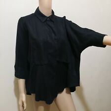 C362 - AKO Black Linen Batwing Collared Top