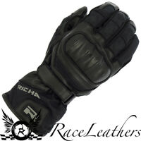 RICHA NASA 2 BLACK LEATHER & SOFTSHELL WATERPROOF MOTORCYCLE MOTORBIKE GLOVE