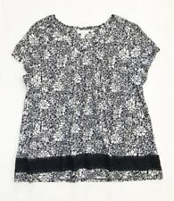 CHARTER CLUB Women's Plus Floral Short Sleeve Knit Top, Navy & White, NWT 1X