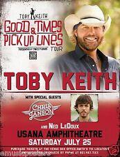 "Toby Keith / Chris Janson ""Good Times Tour"" 2015 Salt Lake City Concert Poster"