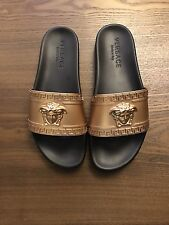 New Versace Palazzo Medusa Logo Men Beach Flip Flop Slides Sandals Gold 42 / 9