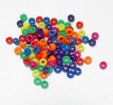 1000 Mix Neon Colors 6.5x4mm Mini Barrel Plastic Pony Beads Made in the USA