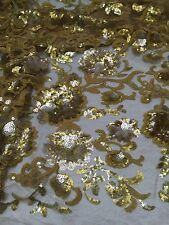 "GOLD MESH WITH GOLD EMBROIDERY SEQUIN LACE FABRIC 52"" WIDE 1 YARD"