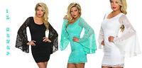 vestito donna mini abito corto pizzo confort 3 colori con maniche a campana tg u