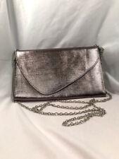Envelope Flap Women's Silver Metallic Chain Strap Clasp Clutch Handbag