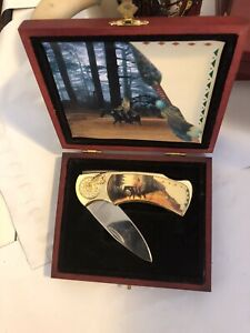 American Indian Folding Knife Stainless Steel 4 Inch Blade Wooden Display Case