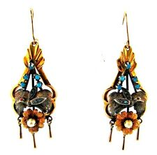 WOW Victorian Silver, 14k Yellow Gold, Coral, Pearl & Turquoise Dangle Earrings