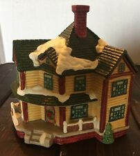 Christmas Village Ceramic House Mansion Holiday Decor Winter Snow Tree Chimney
