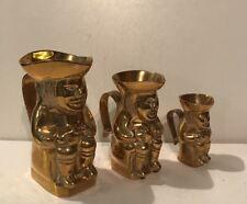 Vintage Brass Toby Jug Set Of 3