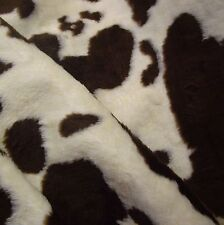Brown & Cream Cow Print Medium Pile Faux Fur Fabric (Per Metre)