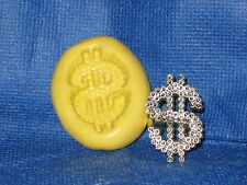 Money Sign Push Mold Flexible Clay Candy Food Safe Silicone #706 Chocolate Resin