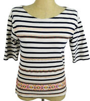 J.Crew Womens Navy Blue White Striped Embroidered 3/4 Sleeve Top Small
