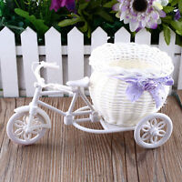 Plastic White Tricycle Bike Design Flower Basket Plant Party Decoration