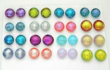 FOR POST EARRINGS TINY Lot 32 pcs round gorgeous DICHROIC FUSED GLASS (Y14) CABS