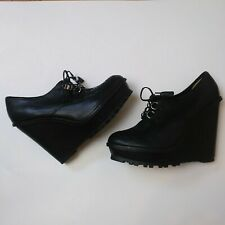 Aldo Platform Wedge Leather Black Loafers Size 41