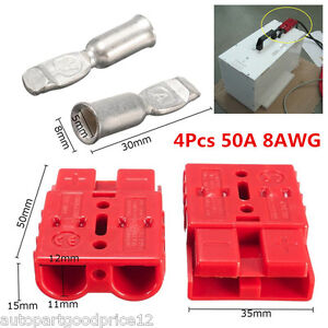 4Pcs Red Battery Quick Connector 50A 8AWG Plug Connect Disconnect Winch Trailer