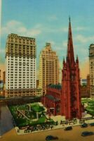 Trinity Church At Broadway And Wall Street New York City Linen Vintage Postcard