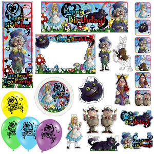 Alice In Wonderland Happy Birthday Banners Decorations Balloons Party Supplies